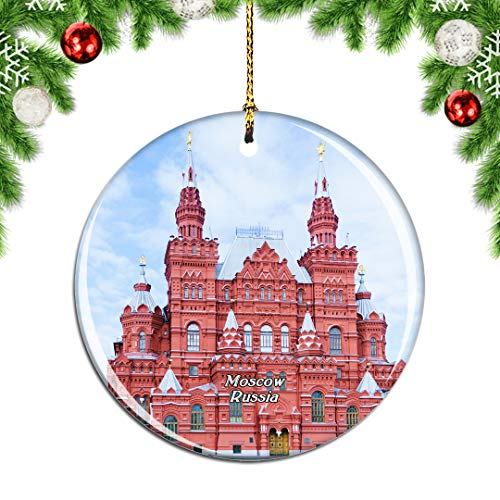 Weekino Russia Red Square Moscow Christmas Xmas Tree Ornament Decoration Hanging Pendant Decor City Travel Souvenir Collection Double Sided Porcelain 2.85 Inch