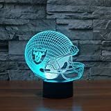3D Nachtlampe Geschenk Möbel 3D Led Oakland Raiders Football Cap Helm Fußball Modell Helm Ootball Club Lampe Usb Led Beleuchtung Tisch Dekor Nachttischlampe