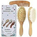 Molylove 3 pieza cepillo de pelo del bebé de madera y juego de peine | natural de cabra cepillo cerdas | madera cepillo de cerdas