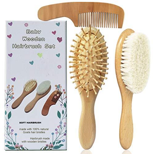 Molylove 3 pièce brosse à cheveux de bébé en bois et ensemble peigne | poils de chèvre naturel brosse | brosse à poils de bois pour nouveau-nés, bébés, tout-petits et jeunes enfants.