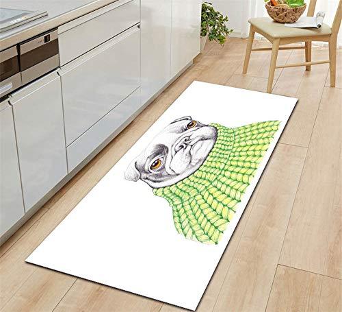 ROMDEANK Tappeto Cucina passatoia Cucciolo bianco Tappeto a Motivi 3D Tappeto Home Area Tappeto per Soggiorno Camera da letto corridoio Cucina Entrata bagno Tappeto40CM X 60CM