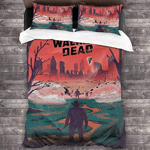 Juego de funda nórdica The Walking Dead, suave, cómodo, duradero, delicado con la piel, cremallera oculta,