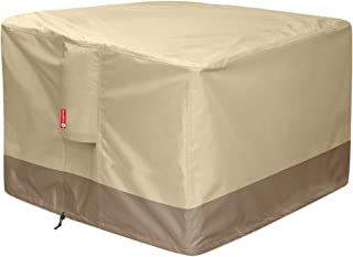"""Gas Fire Pit Cover Square - 600D Heavy Duty Patio Outdoor Fire Pit Table Cover with PVC Coating,100% Waterproof,Air Vents,Fits for 30 / 31 / 32 inch Fire Pit / Table Cover (32""""L x 32""""W x 24""""H,Beige)"""