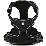 fiE FIT INTO EVERYWAY Range Of Front Side No Pull Dog Harness Outdoor Adventure 3M Reflective Pet Vest with Handle Adjustable Protective Nylon Walking Pet Harness (Black M)