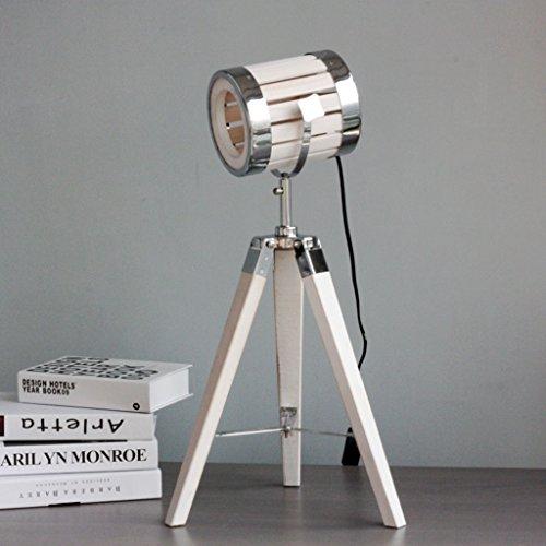 & Tischlampe Tischlampe Deko Lampe LOFT Industrial Style Weiß Alt Holz Stativ Dekoration Tischlampe Leselicht