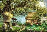 EdCott 10x8ft Fantasy Wonderland Photo Telón Fondo Cuento Hadas Mystic Wooden House Gran árbol Cabaña Troncos el Bosque Fondos Fiesta cumpleaños Eventos Decoración Videos Youtube Fondo Telones Fondo