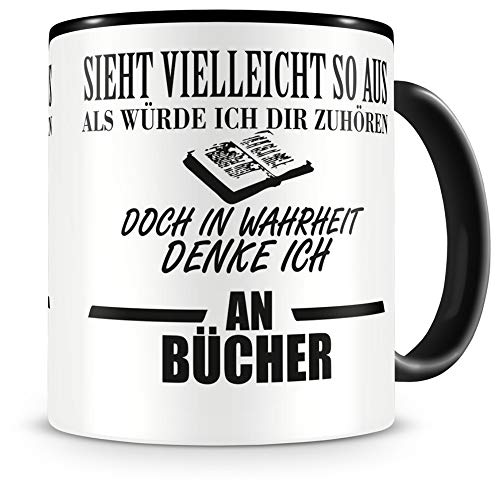 Samunshi® Ich denke an Bücher Tasse Kaffeetasse Teetasse Kaffeepott Kaffeebecher Becher