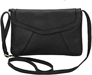 Fashion Women's Bags PU(Polyurethane) Crossbody Bag Zipper Solid Color Retro Simple Multi-Color Optional (Color : Black)