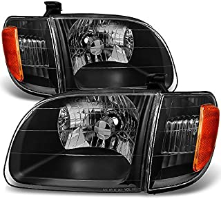 For [Black] 2000 2001 2002 2003 2004 Toyota Tundra Regular | Access Cab Headlights w/Corner Lights Pair