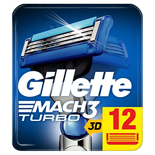Gillette Mach3 Turbo scheermesjes, 12 reservemesjes, per stuk verpakt (1 x 60 g)