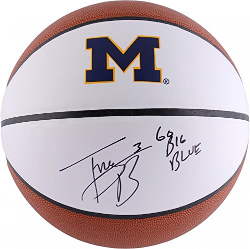 Trey Burke Michigan Wolverines Autographed White Panel Basketball With Go Big Blue Inscription - Fanatics Authentic Certified