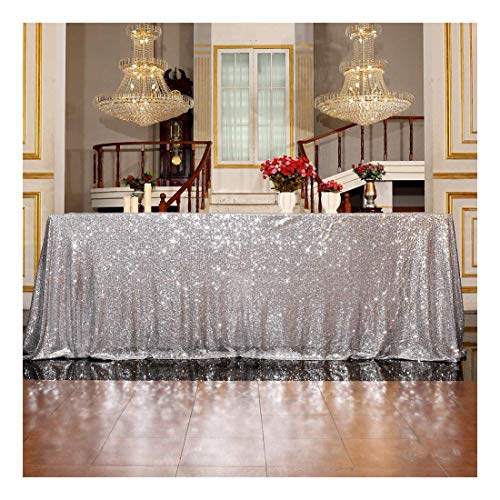 3E Home Sequin Tablecloth Cover for Dinner Wedding Birthday Party Reception Table Decor - Silver, 50x72