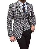 Lovee Tux Trajes de hombre para boda de pata de gallo trajes de doble botonadura chaleco pantalones esmoquin de baile (chaqueta+chaleco+pantalones) - blanco - 60