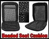 2x Pair Wood Bead Seat Cover Massage Cool Premium Black Comfort Cushion - Reduces Fatigue