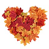 300 Stück Ahorn Blätter Künstliche Ahorn Blätter Autumn Herbst Farbige Blätter für Kunst Scrapbooking Hochzeit Dekorationen Halloween Party Erntedankfest Tag Deko (Mehrfarbig) - 7