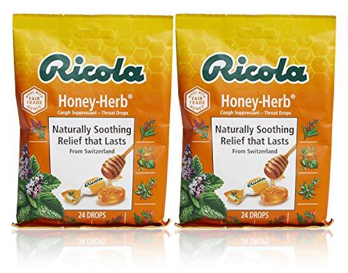 Ricola Honey Herb Herbal Cough Suppressant Throat Drops, 24ct Bag (Pack of 2)