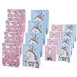 Bolsas de regalo de unicornio 16 PCS, Dos colores (mediano/pequeño), utilizadas para accesorios de baby shower de cumpleaños para niños, Pascua, Navidad, fiesta de cumpleaños