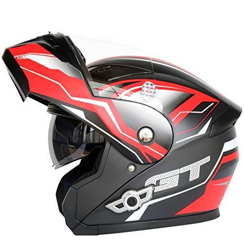 ABDOMINAL WHEEL Casco Moto Modular,Casco De Moto Bluetooth con Función De Respuesta Automática,ECE 22.05 Casco Moto Integral con Doble Lente Antivaho,Espera Larga A,L=59~60CM