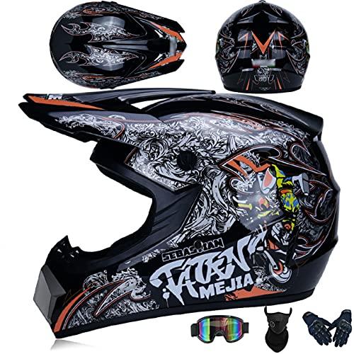OUUUKL Motocross Helmet, Cross Dirt Bike Helmet with Dual Visor Helmet for Dirt Bike Off-Road Motocross ATV Motorcycle Helmet for Men and Women