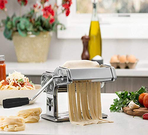 Pasta Maker Machine, Noeler Pasta Crank Stainless Steel Pasta Roller Machine,Manual Noodle Maker Pasta Cutters with 2 Blades,Make Fresh Spaghetti or Fettuccini