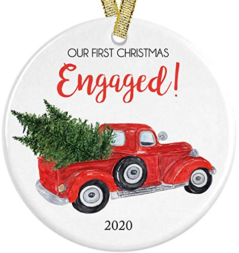 Our First Christmas We're Engaged 2020 Red Vintage Pickup Christmas Truck With Tree Ceramic Round Ornament, Engagement 3' Flat Circle with Metallic Gold Ribbon + Free Gift Box