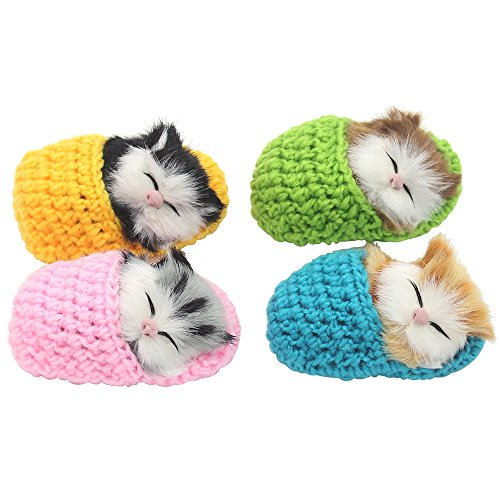Coolayoung 4Pcs Sleeping Cat in Slipper Doll Toy, Mini Kitten in Shoe with Meows Sounds Decor Hand Toy Gift for Kids Boys Girls