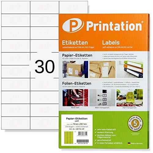Universal Etiketten 70 x 29,7 mm für Kennzeichnungen blanko selbstklebend weiß bedruckbar - 3000 70x29,7 Labels auf 100 DIN A4 Bogen 3x10 - Aufkleber zum bedrucken 3489 4456