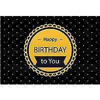 GooEoo 10×8フィートハッピーバースデービニール写真の背景ラウンドドットバナーレース水玉黒背景子供子供赤ちゃん大人誕生日パーティーバナースタジオ小道具壁紙