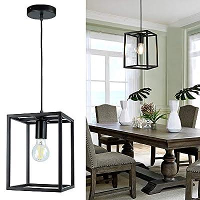 1 Light Black Lantern Pendant Light Fixture, Depuley Rustic Hallway Chandelier Lighting with Adjustable Cord, Rectangle Metal Cage Hanging Lights for Foyer /Kitchen Island/Bar/Entryway, 1XE26 Socket