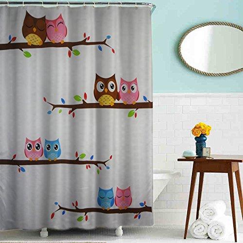 MapleundHome Duschvorhang mit Eulenmotiv, wasserdicht, 180 x 180 cm, wasserdicht, Polyester, Duschvorhang mit 12 Kunststoffhaken, Cartoon-Eule, Duschvorhang 180 x 180 cm