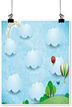 "Rich in colorBoys Girls Nursery Room with Balloons Clouds Stars on The Hillls Cartoon Print Decor for Living Room,24""W x 44""L/1pc(Frameless)"