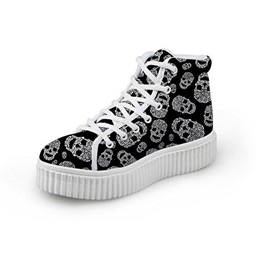 Coloranimal Zapatillas de plataforma alta para mujer con estampado de calavera, zapatos clásicos, Negro (calavera-6 ), 40 EU