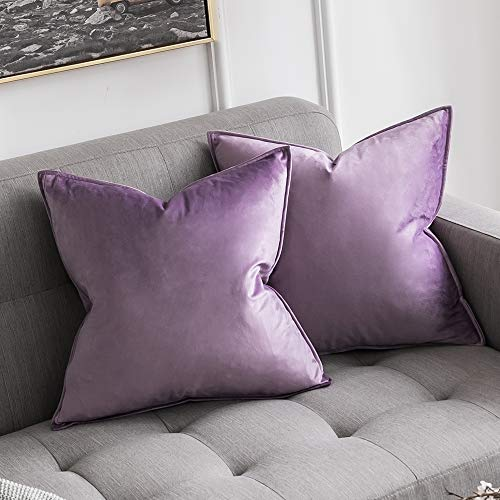 MIULEE Pack of 2 Velvet Soft Decorative Square Throw Pillow Case Flanges Cushion Covers Pillowcases for Livingroom Sofa Bedroom with Invisible Zipper 45cm x 45cm 18x18 Inch Set of Two Lilac
