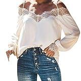Camisetas para Mujer,Lenfesh Mujer Camisas Camisa Encaje Primavera de Manga Larga Camisa Mujer Manga Larga Blusa de Hombros Descubiertos Mujer Mujeres Sexy Tops Casual Verano Negro (M, Blanco)