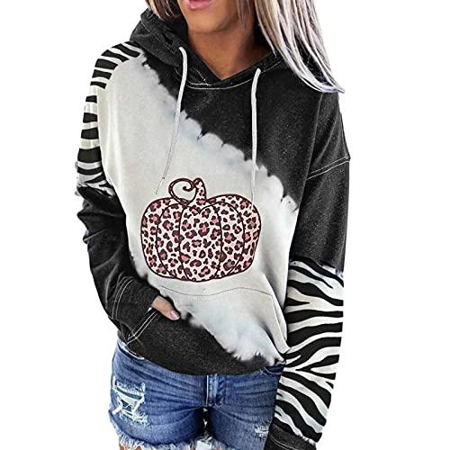 Wave166 Sudadera con capucha para mujer, diseño de patchwork, con estampado de rayas, con capucha, holgada, para tiempo libre, de manga larga, ropa deportiva con bolsillos, 2 negros., L