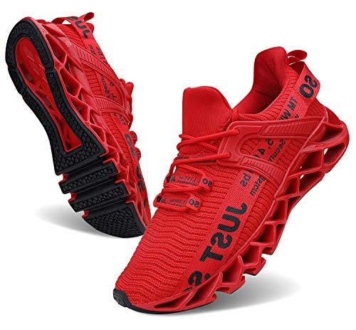 Wonesion Damen Laufschuhe Sportschuhe Straßenlaufschuhe Sneaker Damen Tennisschuhe Fitness Schuhe, 2 Rot, 40 EU