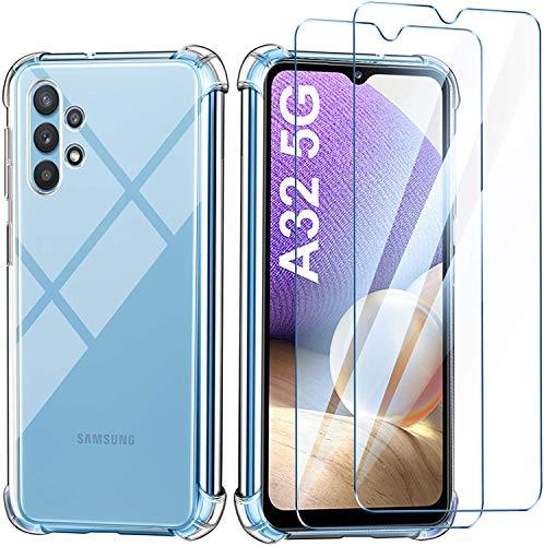 Leathlux Funda Samsung Galaxy A32 5G, 2 Pack Cristal Templado Protector de Pantalla, Ultra Fina Silicona Transparente TPU Funda y Protector Airbag Anti-arañazos Carcasa Samsung Galaxy A32 5G 6.5'