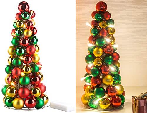 Britesta Kugelpyramide: LED-beleuchtete Weihnachtsbaum-Pyramide mit bunten Kugeln, 30 cm (Weihnachtskegel)