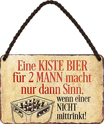 """Blechschilder Bier lustiger Spruch: """"Eine Kiste Bier für 2 Mann ."""" Deko Hängeschild Witzige Geschenkidee für Deine Trink & Sauf Freunde 18x12 cm"""
