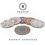 BOHORIA Premium Design Untersetzer 6er Set Dekorative Untersetzer fur Glas, Tassen, Vasen, Kerzen auf ihrem Holz-, Glas- oder Stein- Esstisch Boho Edition,Marrakech - 4