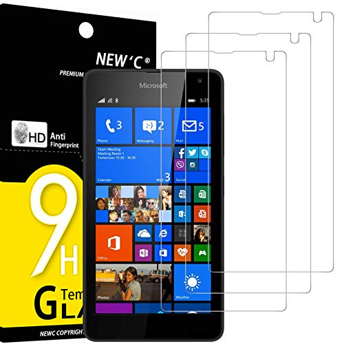 NEW'C 3 Stück, Schutzfolie Panzerglas für Nokia Lumia 535, Frei von Kratzern, 9H Festigkeit, HD Bildschirmschutzfolie, 0.33mm Ultra-klar, Ultrawiderstandsfähig