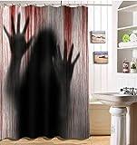Baño de Cortina de Ducha de Calabaza de Tema de Halloween Cortina de baño a...