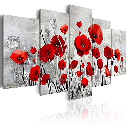 murando Acrylglasbild Abstrakt 200x100 cm 5 Teilig Wandbild auf Acryl Glas Bilder Kunstdruck Moderne Wanddekoration - Mohnblumen Texture grau rot wie gemalt b-A-0001-k-n