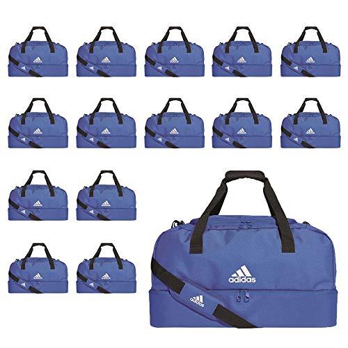 adidas Fußball Tiro Duffelbag mit Bodenfach Sporttasche Gr L 15er Set blau