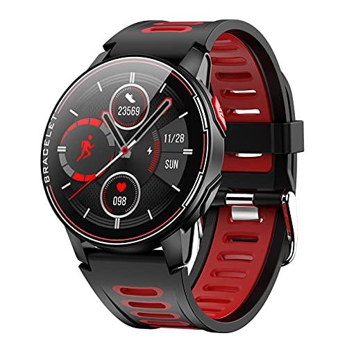 BATQER Smartwatch, Sueño del Ritmo Cardíaco De La Presión Arterial Que Supervisa El Reloj De La Aptitud De Los Deportes De La Moda IP68,Rojo