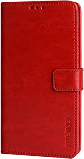 CASE BOX Faux Leather Flip Wallet with Card Slot Case for Xiaomi Poco M2 Pro(Red)