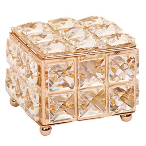 Fransande Caja de almacenamiento para pendientes y perlas de diamantes de imitación para decoración del hogar, caja de almacenamiento con tapa