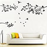 ALiQing Family Tree Branches Wall Decal with Birds Removable Vinly Wall Stickers for Home Décor
