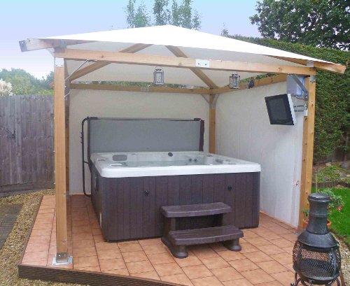 White Pavilion Gazebos: Hot Tub Gazebo 3m x 3m (9'9' x 9'9')