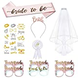 Bride to Be Sash and Veil,Bride Headband Tiara,Badge,Tattoos,Bride to Be and Team Bride Glasses for Hen Night Party,Bridal Accessories